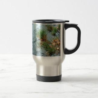 Yashiro Garden Mugo Pine and Ice on Pond Travel Mug