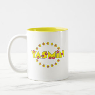 Yasmin en el amarillo de Flores Taza De Café De Dos Colores