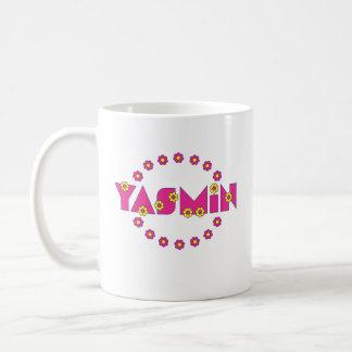 Yasmin en el rosa de Flores Taza De Café