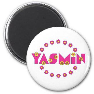 Yasmin in Flores Pink Fridge Magnet
