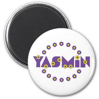 Yasmin in Flores Purple Fridge Magnets