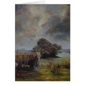 Yatch en dique seco con el cielo tempestuoso tarjeta de felicitación