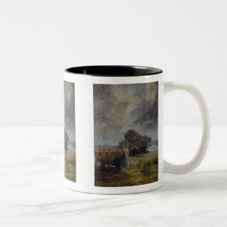 Yatch en dique seco con el cielo tempestuoso taza de dos tonos