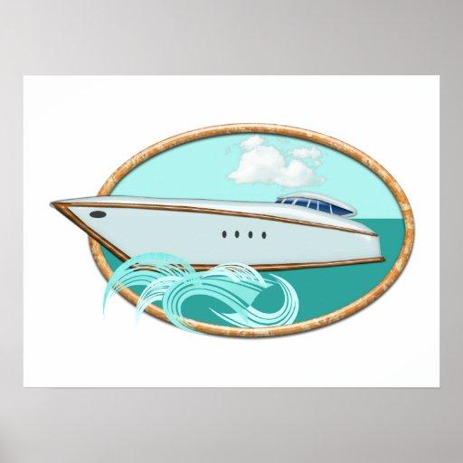 Yate aerodinámico en el mar y el cielo ovales póster