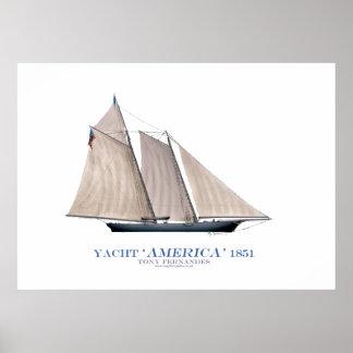 """yate """"América 1851"""" de la taza de Américas, Impresiones"""