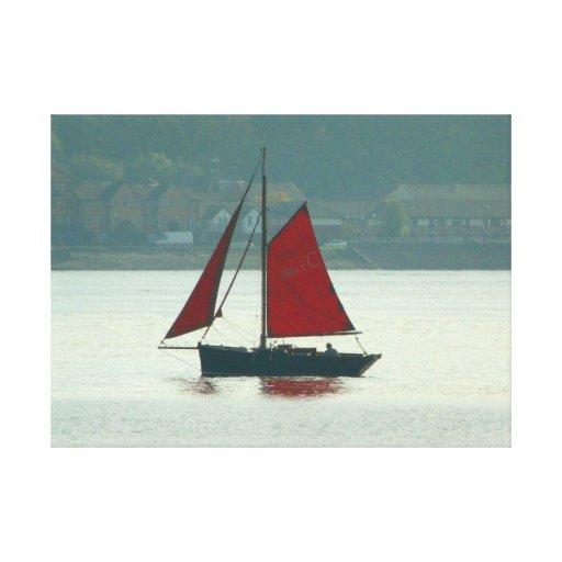 Yate del vintage en la bahía de Cardiff Impresión En Lienzo Estirada
