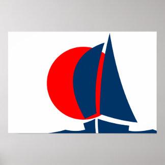 Yate japonés Japón de la navegación de la bandera Poster