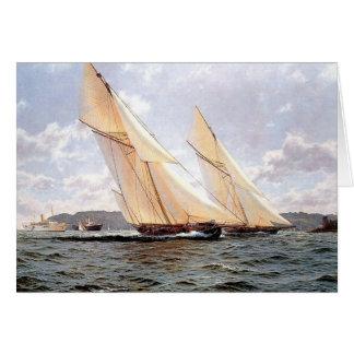 Yates que compiten con con los buques de vapor en tarjeta de felicitación