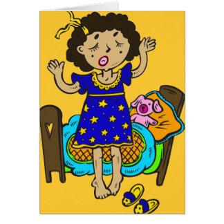 Yawning Bedtime Girl Card