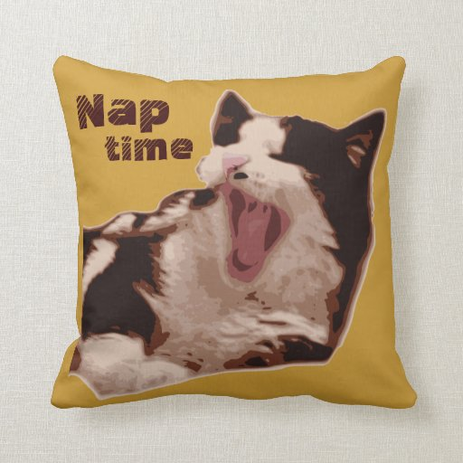 Yawning Bicolor Cat Pillow