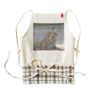Yawning Bobcat Zazzle HEART Apron