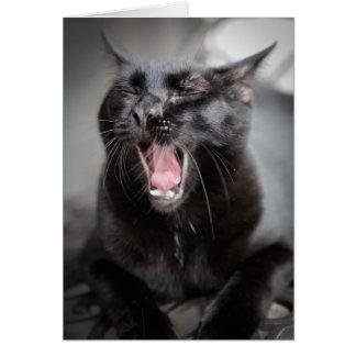 Yawning Cat Greeting Card
