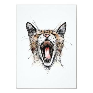 "Yawning Kitty 5"" X 7"" Invitation Card"
