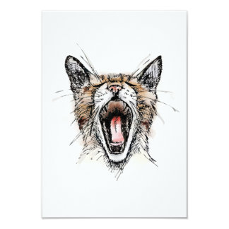 "Yawning Kitty 3.5"" X 5"" Invitation Card"