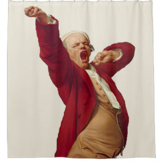 Yawning old man shower curtain