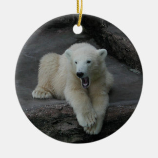 Yawning Polar bear cub Ceramic Ornament