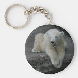 Yawning Polar bear cub Keychain