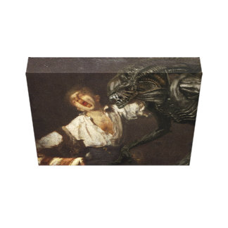 Yawning servant and the Alien Canvas Print