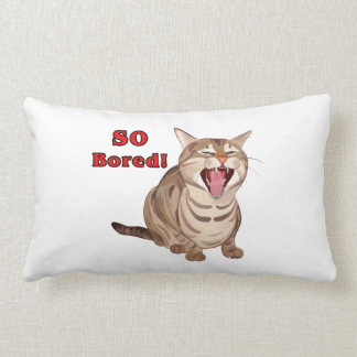 Yawning Tabby Cat So Bored Lumbar Pillow