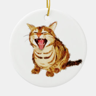 Yawning Tabby in Pastel Pencil Sketch Ornaments