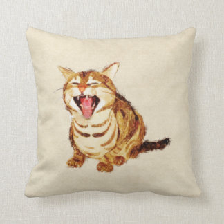 Yawning Tabby in Pastel Pencil Sketch Throw Pillows