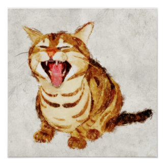 Yawning Tabby in Pastel Pencil Sketch Print