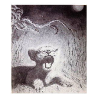Yawning Tiger Cub Poster
