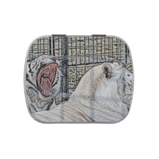 Yawning white tiger next to other cat sketch style jelly belly tins