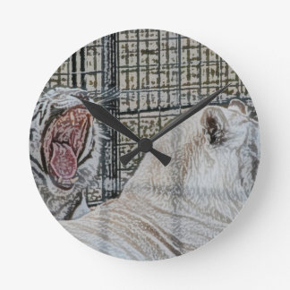 Yawning white tiger next to other cat sketch style round clock