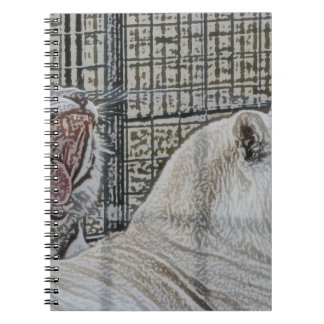 Yawning white tiger next to other cat sketch style spiral notebook