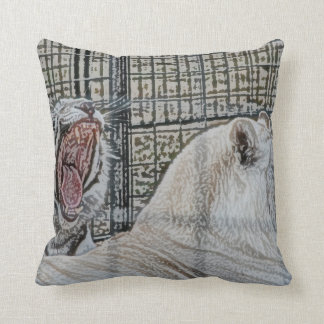 Yawning white tiger next to other cat sketch style throw pillow