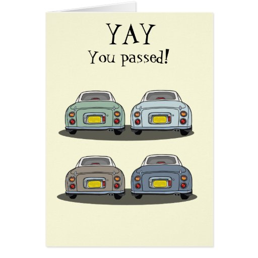 Yay! Driving Test Congrats Card - Nissan Figaro