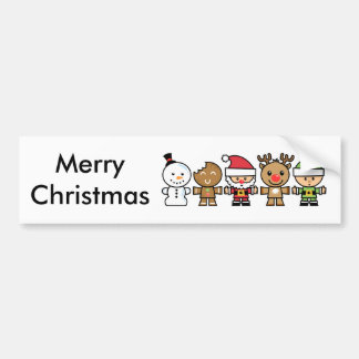 Yay For Color Five Xmas Characters Bumper Sticker
