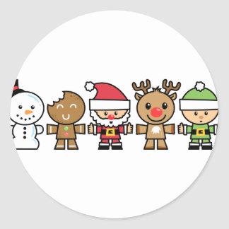 Yay For Color Five Xmas Characters Classic Round Sticker