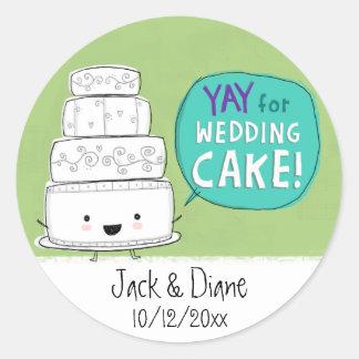 YAY for Wedding Cake!  Customizable Round Stickers