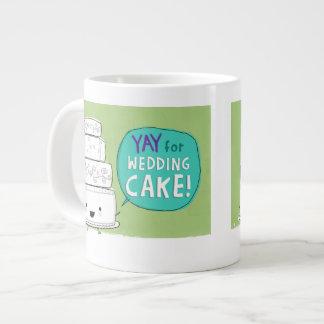 YAY for Wedding Cake! Funny Kawaii Cake Design Giant Coffee Mug
