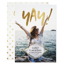 Yay! Gold Script Graduation Celebration Party Card