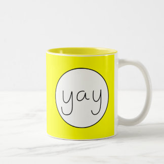 YAY Happy Uplifting Handwriting Customizable Color Two-Tone Coffee Mug