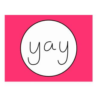 YAY Happy Uplifting Handwriting Happy Magenta Postcard
