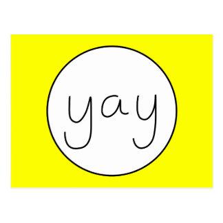 YAY Happy Uplifting Handwriting White And Yellow Postcard