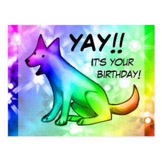 Yay! It's your birthday! Happy rainbow dog Postcard