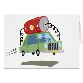 Yay para el coche de batería del color tarjeta de felicitación