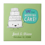 ¡YAY para el pastel de bodas! Diseño chistoso con  Azulejo Ceramica