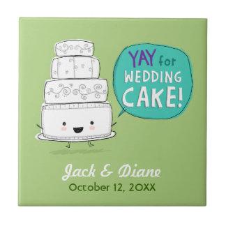 ¡YAY para el pastel de bodas! Diseño chistoso con Azulejo Cuadrado Pequeño