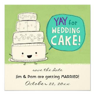 YAY para la invitación del boda del pastel de