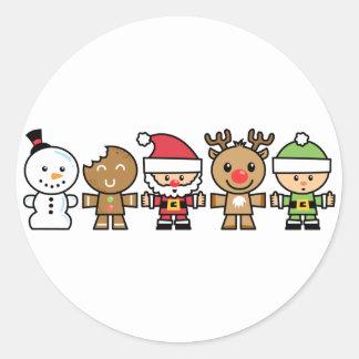 Yay para los caracteres de Navidad del color cinco Pegatina Redonda