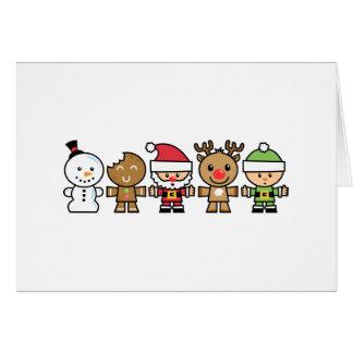 Yay para los caracteres de Navidad del color cinco Tarjetón