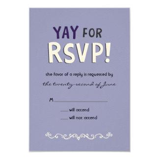 """¡YAY para RSVP! Tarjeta de la respuesta Invitación 3.5"""" X 5"""""""