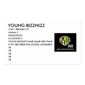 YB4, YOUNG BIZZNIZZ, Double-Sided STANDARD BUSINESS CARDS (Pack OF 100)