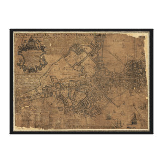 Ye Great Town of Boston Map by William Price 1743 Canvas Print